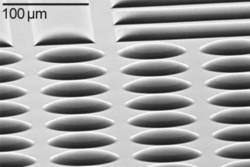 Etching of micro lenses in quartz