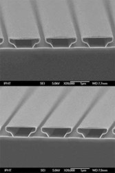 18 nm ALD Al2O3 (top) and 21 nm PEALD Al2O3 (bottom) showing very good conformality to 3D structures